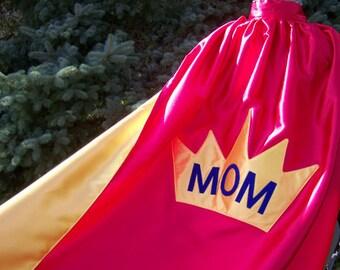 Crown Super MOM Custom Superhero Cape