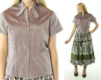Vintage 50s Blouse Lavvender Sharkskin Top Short Sleeve Shirt Button Up 1950s Medium M Pinup Rockabilly