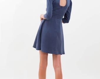 Mini Tea Dress / Blue Dress / Tencel Dress / 40s Retro Dress / 3/4 Sleeve