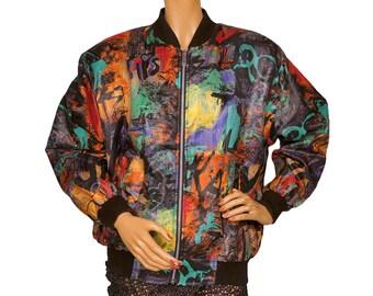 Vintage 1980s Graffiti Abstract Print Windbreaker Bomber Jacket - Streetwear