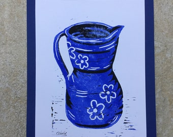 Linocut Print of a Blue Jug.
