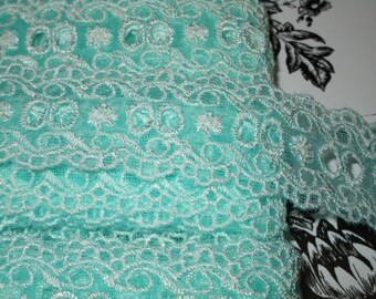 """3 yards 1 1/4"""" width mist aqua color with embroidery floral pattern non stretch poly&tulle lace trim for your fashion design decor"""