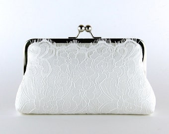 Ivory Lace Bridal Clutch, Silk Clutch,  Bridesmaid Gift, Wedding clutch