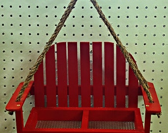 Wooden Hanging Red Bird Feeder Bench Swing Seat Seed Garden Handcrafted USA