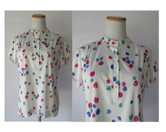 Paint Splatter Top 80s Blouse 1980s Shirt Secretary Work Blouse Size Large XL Short Sleeve White