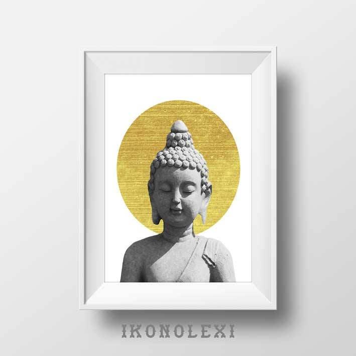 Gold and Black Buddha Statue Art Print Yoga Studio