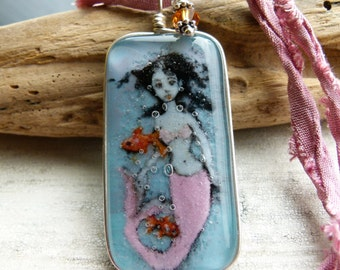 Mermaid and gold fish necklace - fused glass pendant