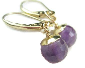 Gold Lever Back Earrings with Purple Gemstone Drops, Amethyst Earring Charms, Interchangeable Dangles, February Birthstone