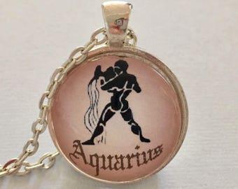 AQUARIUS glass pendant necklace, Astrology necklace, Aquarius jewellery, Silver astrology necklace, Aquarius cabochon necklace