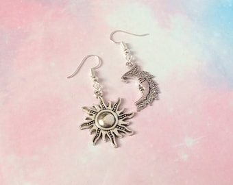Celestial Earrings, sun and moon earrings, mismatched earrings, Wicca jewelry, moonchild jewelry, goth earrings, gothic jewelry, goth gift