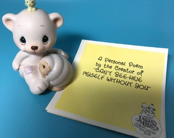 """Vintage """"Can't Bee Hive Myself Without You"""" - Precious Moment 1989 Figurine, Bear with a Bee on it's head"""