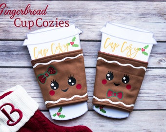 Gingerbread Cozy, Cup Cozy, Cup Holder, Cup Sleeve, Cup Cozy Sleeve, Gingerbread Man, Ginger Bread Man, Christmas Gifts, Stocking Stuffer