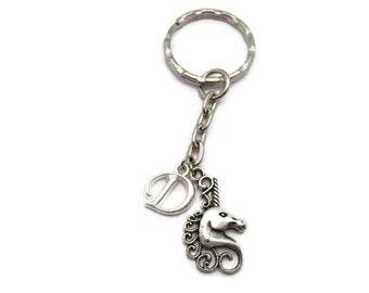 Unicorn Keychain Customized  Unicorn Keychain Personalized  Keychain Mythology Lovers Gift Unicorn Lovers Initilal Gifts Under 10