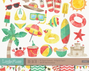 Beach Digital Clipart and Papers, Watercolor Beach Clipart, Summer Clipart, Vacation Clipart, Beach papers, Summer Papers, Bikini Clipart