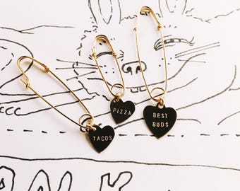 Large Safety Pin Heart Charm - Best Buds or Custom