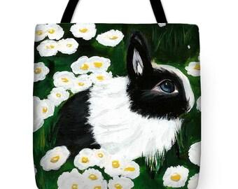 Tote Bag w/Art Print by Monica - Dutch Bunny Rabbit Daisies Beach Shop Carry-All Easter