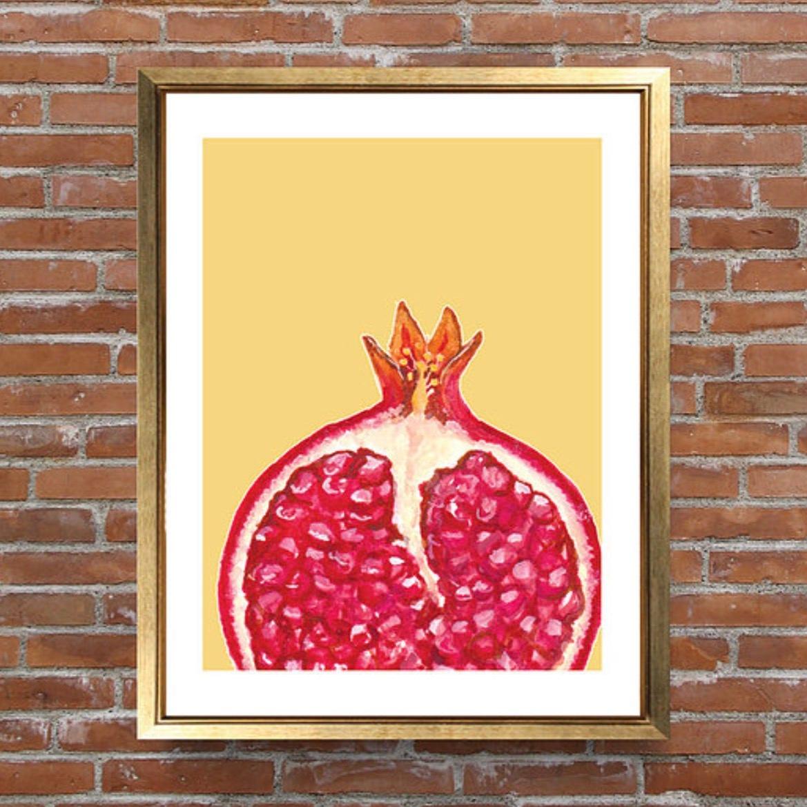 Pomegranate Print Kitchen Art Wall Art Home Decor Fruit