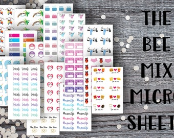 The Bee Mix Micro Sheet Mix-Micro Planner Sticker Set for Micro Binder-Tiny Sticker Compatible with Most Planners-Set of 15 Micro Sheets