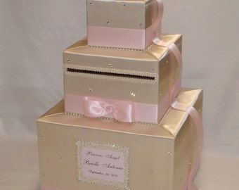 Champagne and Pale Pink Card Box-Rhinestone accents