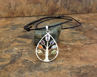 "Waxed Cotton Cord ""Tree of Life"" chakra silver pendant necklace with sliding knots"