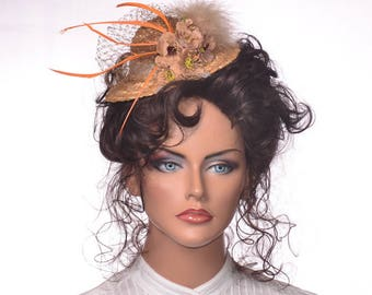 Straw Mini Hat Fascinator Hatinator Taupe Brown Roses French Netting and Feathers Straw Percher Garden Tea Party Hat