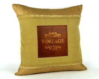 "Rustic Pillows ~ Leather pillows ~ Canvas Pillow ~ 18x18 ""VINTAGE LEATHER Pillow"" ~ Throw pillows ~ Farmhouse Pillow ~ Ready to ship"