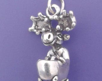 MOOSE In Clawfoot BATHTUB Charm .925 Sterling Silver Pendant - lp2646