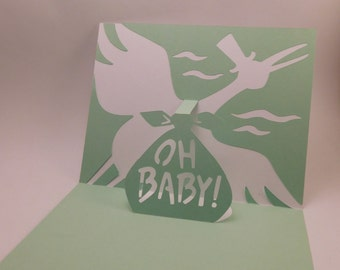 Stork pop up, baby card