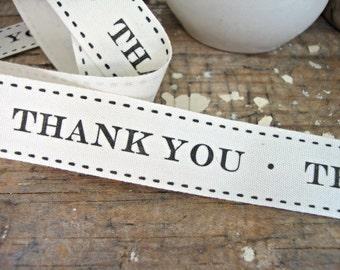 "Natural Cotton ""Thank You"" Ribbon"