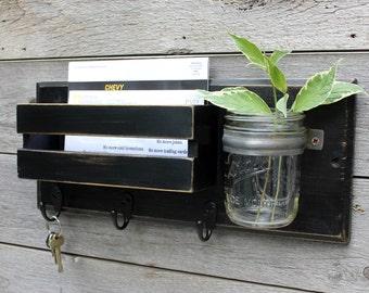 Entryway Organizer, Mudroom, Dog Leash Holder, Mail Organizer, Key Holder, Mail Holder,  Mason Jar Vase, Key Hook