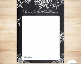 Snowflakes Advice Cards - Baby Shower Game - Chalk - PRINTABLE, INSTANT DOWNLOAD