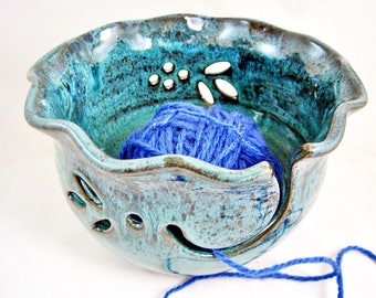 Pottery Yarn bowl, Ceramic knitting bowl, pottery gift to her, Christmas gift to knitter