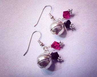 Sporty Girl Basketball Swarovski Earrings-Any color crystal available