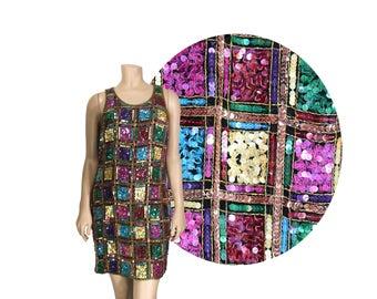 Small Sequin Mini Dress by Laurence Kazar // 90's Multicolor Sequin Dress // D89