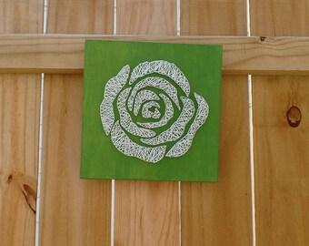 Rose String Art - Rose Wall Decor - White Rose