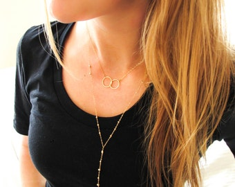 Gold Y Necklace - Y Drop Necklace - Y Shaped Necklace - Gold Worship Pendant - Handmade 14K Gold Fill and Brass Pendant Long Rosary Necklace