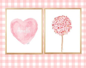 Girl Nursery Art, Set of 2 - 8x10 Prints, Personalized, Pink Girls Decor, Flowers and Hearts, Pink Watercolor Art, Pink Nursery Wall Art