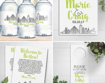 Wedding Welcome Bag Kit,  Boston Skyline, Destination Wedding, Welcome Bags, Favor Tags, Water Bottle Labels