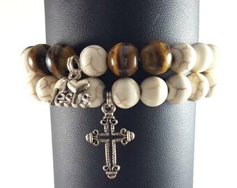 Bracelets-Stackable/Stack Bracelets/Beaded Bracelet/Trendy/Charm Bracelet/Stretch Bracelet/Tiger Eye Beads/ Howlite Beads/Bead Bracelet/Sets