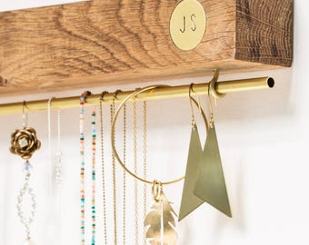 Personalised Oak And Brass Jewellery Stand