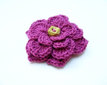 PDF Tutorial Crochet Pattern - Flower Brooch