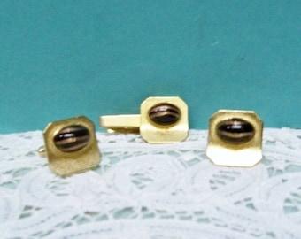 Mans Cufflinks & Tie Clasp Set ~ 1950s ~ 1960s Gold Tone Finish ~ Black Oval Foil Glitter  Cabochon ~ Unisex Jewelry ~ Cufflinks And Tie Bar