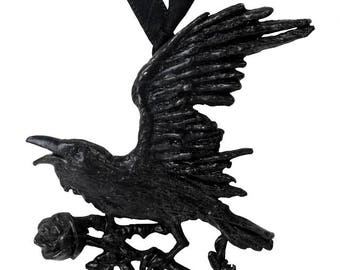 Black Raven Necklace  ~ with black Swarovski crystal dropper