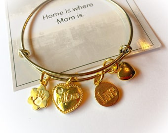 Home is where Mom is, mom, mothers day gifts, mom bangle, Mother's Day, mom gifts, gifts for mom, mothers bracelets