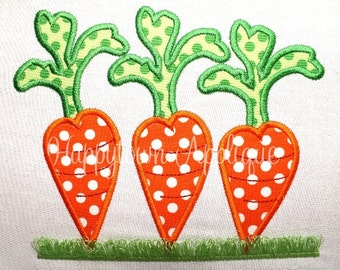 Trio of Carrots with Fringe Machine Embroidery Design