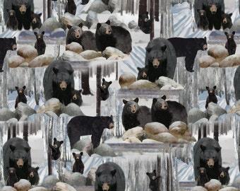 Bears in Woods, 1 Yard, Quilt Fabric, Kanvas Studio, 08492 12, Into the Woods, Ice Blue, Black Bear, Winter Woods, White, Bear Cubs, Mama