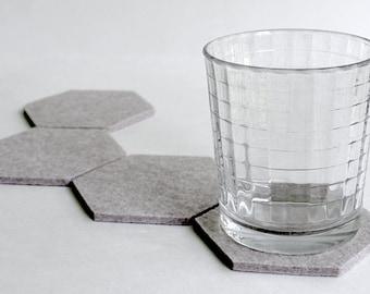 Hexagon Drink Coasters in 5mm Thick Felt Virgin Merino Wool Felt