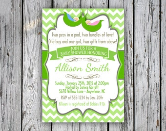 Two peas in a pod baby shower invitation twins baby shower twins baby shower invitation two peas in a pod baby shower invite chevron green digital file print yourself filmwisefo