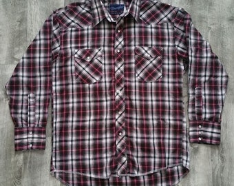 Vintage Wrangler Pearl Snap Western Shirt Plaid Long Sleeve size 16 x 33