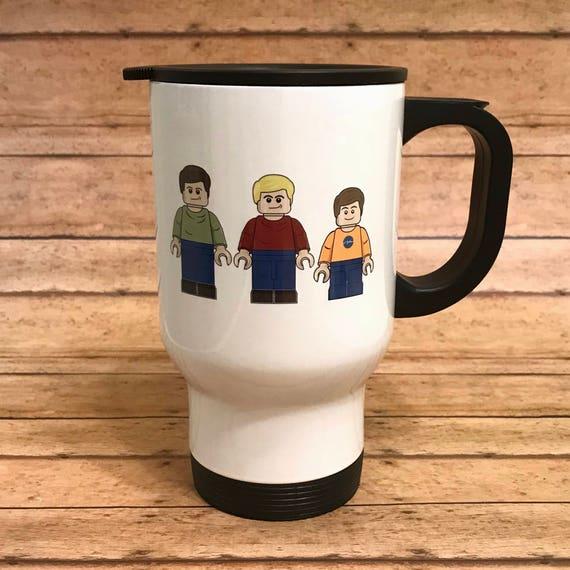 Personalized Lego inspired minifigure travel mug camp mug or